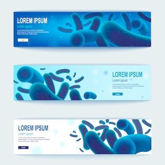 Set di banner web orizzontale blu di vettore di probiotici