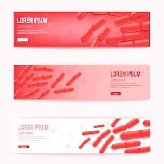 Set di banner web orizzontale rosso di vettore di probiotici