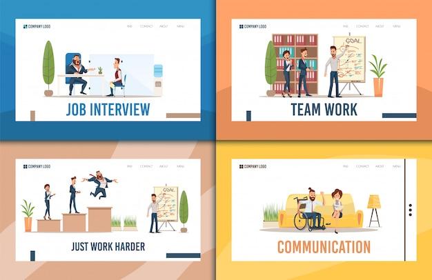 Set di banner web piatta di affari