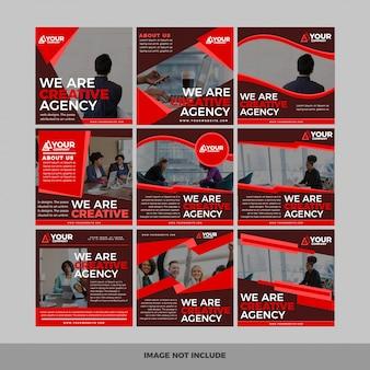 Set di banner web quadrato moderno promozione per applicazioni mobili social media