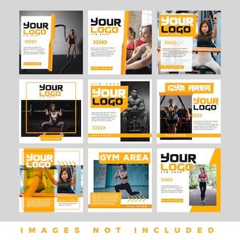 Set di banner web quadrato moderno promozione per i social media