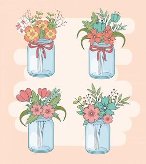 Set di barattoli di vetro con decorazioni floreali