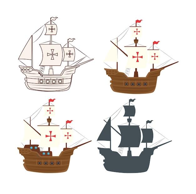 Set di barche carabela icone illustrazione vettoriale design