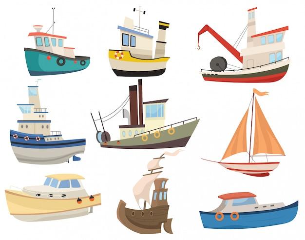 Set di barche dei cartoni animati. raccolta di vari trasporti d'acqua. navi a vela. giocattolo.