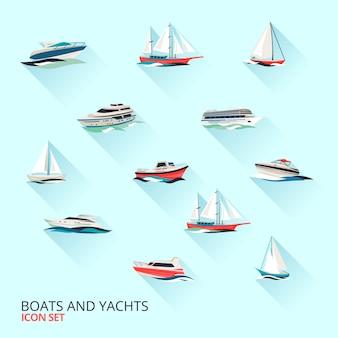 Set di barche, yacht e barche a vela