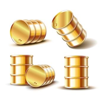 Set di barile di petrolio in metallo dorato in posizione diversa su sfondo bianco. illustrazione