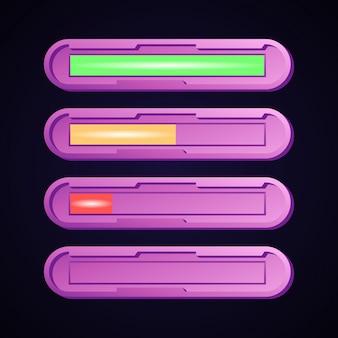 Set di barra di avanzamento e salute dell'interfaccia utente divertente gioco arrotondato futuristico