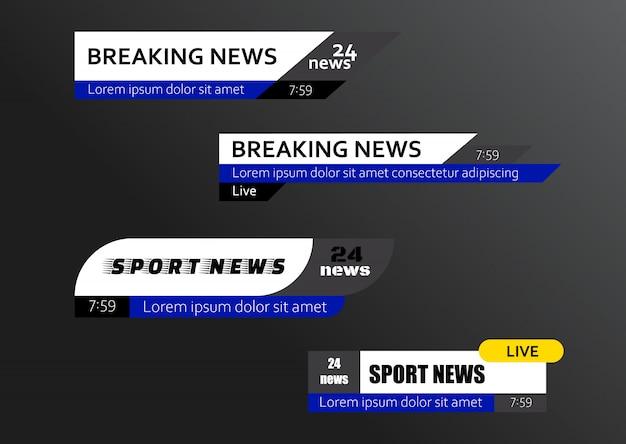 Set di barre delle notizie tv
