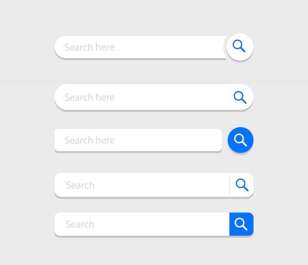 Set di barre di ricerca. modello di interfaccia utente di caselle di ricerca.