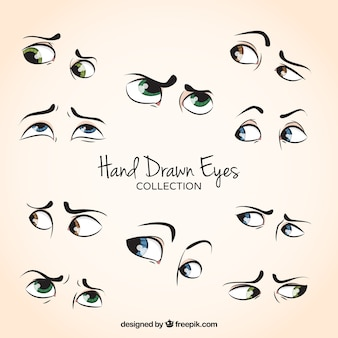 Set di bei occhi disegnati a mano