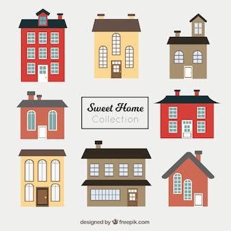 Set di belle facciate di case a struttura piatta