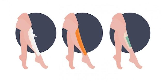 Set di belle gambe da donna con strisce di cera depilatoria