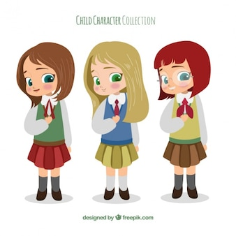Set di belle ragazze in uniforme scolastica