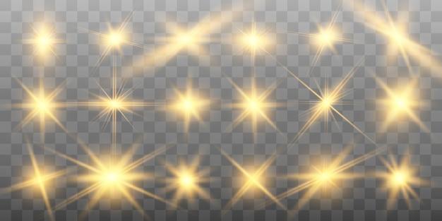 Set di belle stelle luminose d'oro.