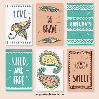 Set di bellissime cartoline motivazionali boho