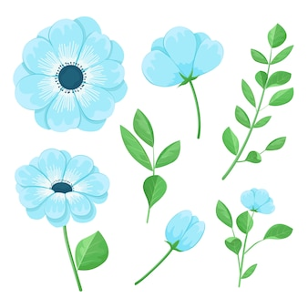 Set di bellissimi fiori blu