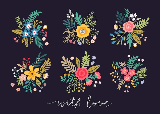 Set di bellissimi mazzi di fiori. fiori, foglie, ramoscelli e bacche multicolori luminosi su un fondo nero. lettering con affetto.