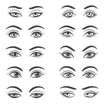 Set di bellissimi occhi femminili