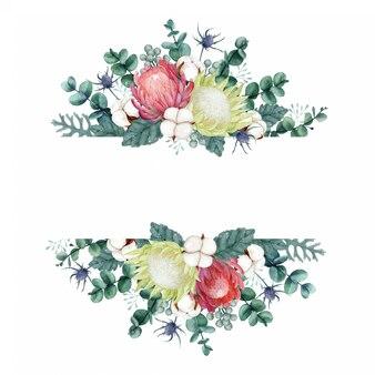 Set di bellissimo bouquet ad acquerello