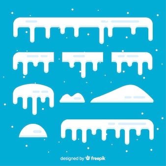 Set di berretti di neve piatto