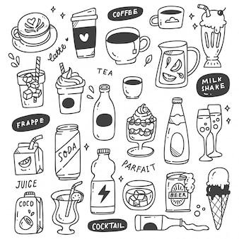 Set di bevande disegnate a mano doodle