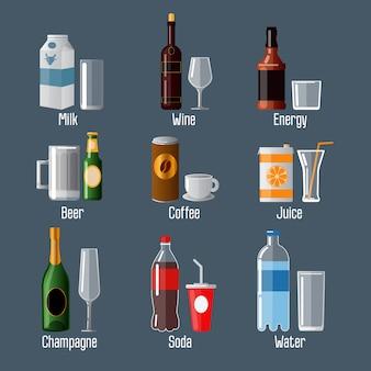 Set di bevande diverse in ware