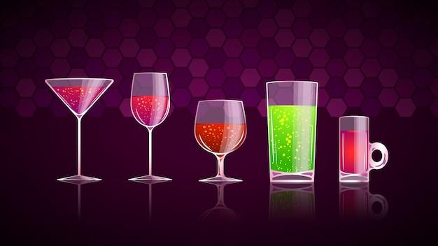 Set di bicchieri con bevande