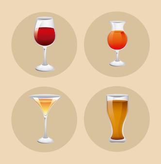 Set di bicchieri con drink