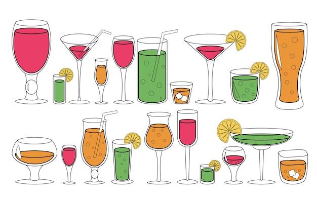 Set di bicchieri con liquido. illustrazione di cocktail di bevande.