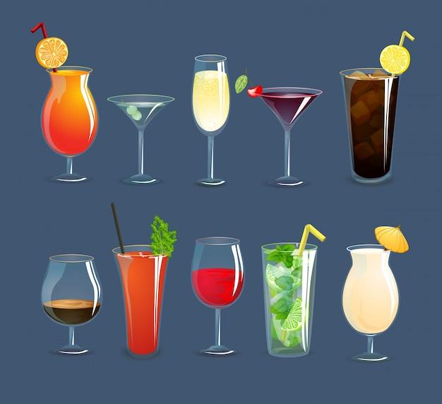 Set di bicchieri di bevande
