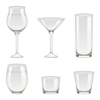 Set di bicchieri di vetro, contenitori vuoti