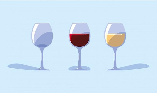 Set di bicchieri di vino su sfondo blu