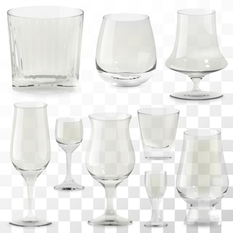 Set di bicchieri di whisky trasparenti realistici. bicchiere da alcol