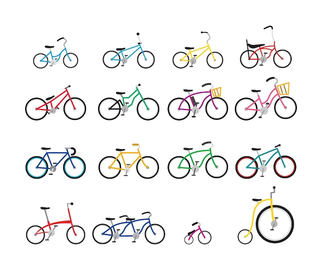 Set di biciclette colorate con varie dimensioni e forma