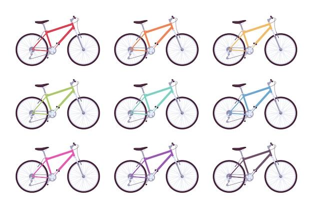 Set di biciclette sportive in diversi colori
