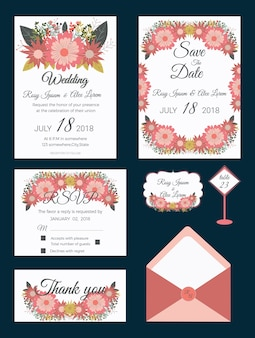 Set di biglietti d'invito con elementi di fiori raccolta di nozze