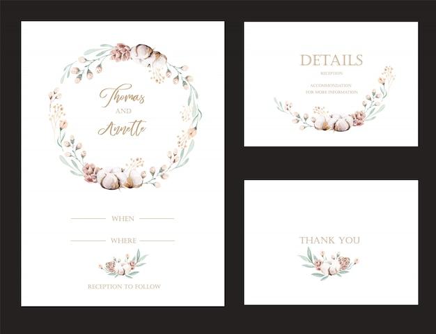 Set di biglietti d'invito con protea di fiori ad acquerello ed elementi in oro. collezione di nozze