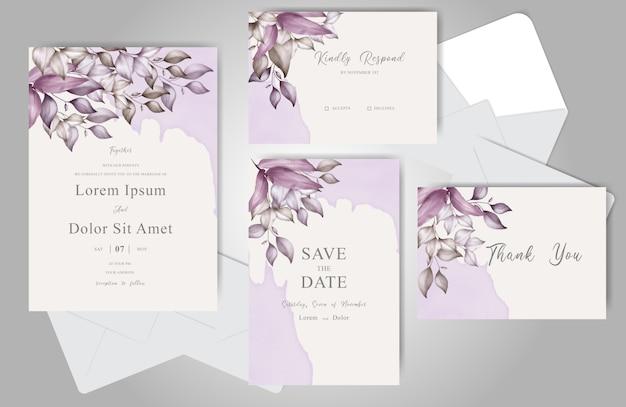 Set di biglietti d'invito matrimonio bellissimo fogliame