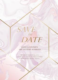 Set di biglietti d'invito per matrimonio in marmo. le nozze di lusso invitano le carte con struttura di marmo dorata e il modello di progettazione di vettore del confine dell'oro