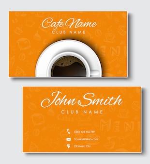 Set di biglietti da visita neri per caffetteria e caffetteria