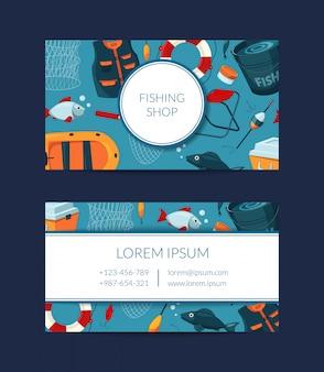 Set di biglietti da visita per negozio di attrezzature per la pesca