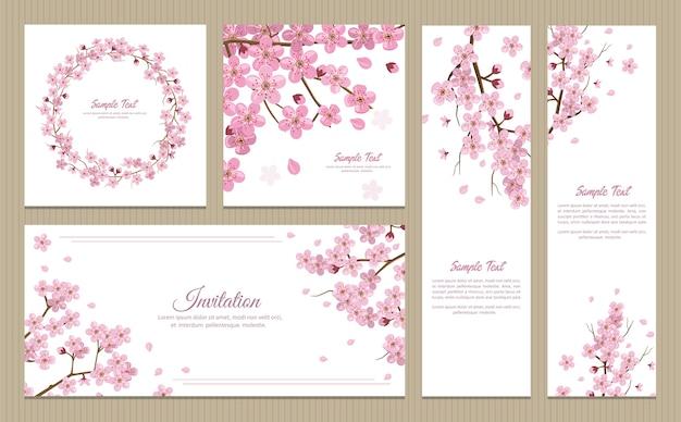 Set di biglietti di auguri, banner e carta di invito con fiori di sakura in fiore