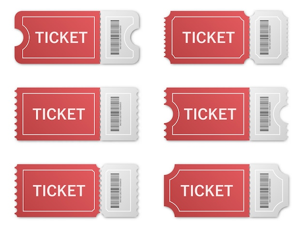 Set di biglietti di carta realistici con ombra.