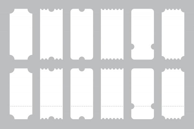 Set di biglietti modello di diverse forme.