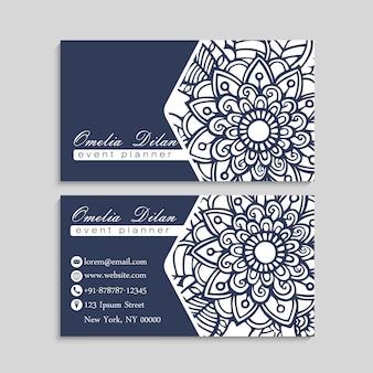 Set di biglietto da visita con fiori disegnati a mano zentangle