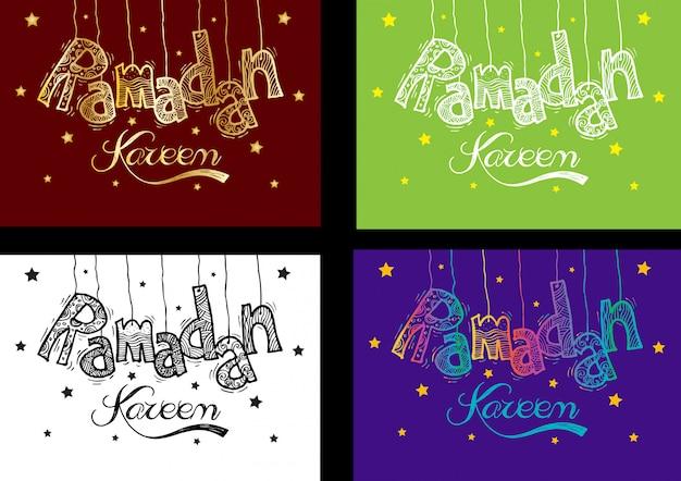 Set di biglietto di auguri ramadan kareem