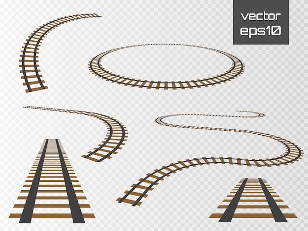 Set di binari vettoriali. ferrovia isolata su sfondo trasparente.