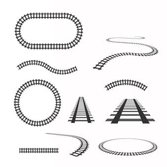 Set di binari vettoriali. ferrovia isolata su trasparente