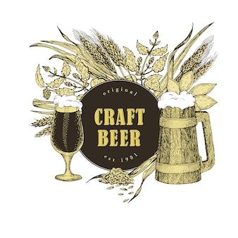 Set di birra illustrazione vettoriale in stile schizzo. modello di banner birra disegnato a mano. retro