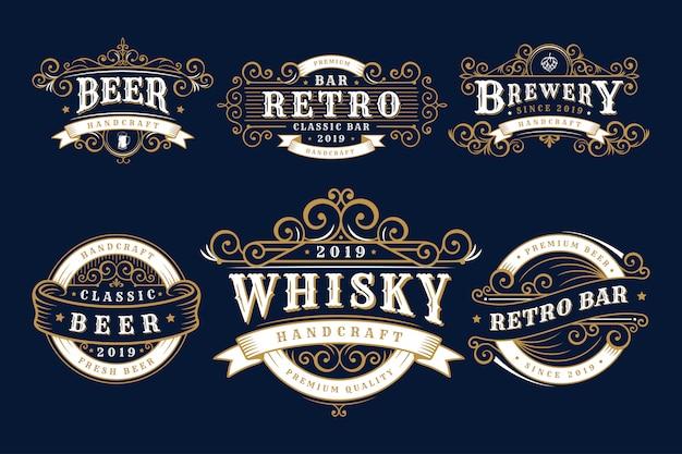 Set di birrerie distintivi vintage, birreria ed emblemi